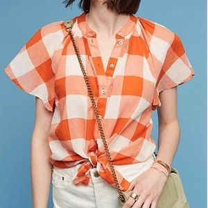 NWT Anthropologie Maeve Gingham Button Down Top